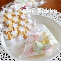 Cheap Transparent white star cookie bag candy package self adhesive gift packing supply favor birthday wedding party bags