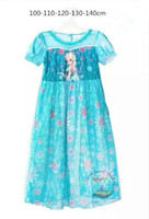Cheap New 2015 Girls Cute Dress Children Clothing Princess Elsa Summer Pajamas Dress Cartoon Sleepwear Baby Kids Vetidios clothes free shipping