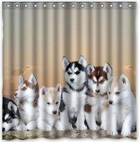 Wholesale Custom Siberian Husky Fans Printed Size cmx180cm Waterproof Polyester Shower Curtain