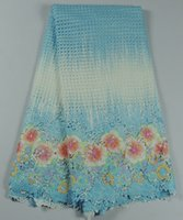 african print fabric - High quality blue with flower print cotton guipure lace fabric African water soluble lace cloth AWL67 multi color