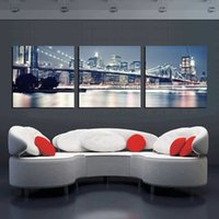 Wholesale 3 Pieces Modern Home Decors Landscape Painting New York Oil Painting City Night Art Pictures Canvas Prints T