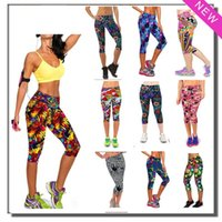 active yoga wear - New Summer Modal Capris Women Leggings High Waisted Floral Printing Sport Pants Finess Yoga Casual Pants Gym Wear Colors