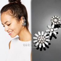 Wholesale Goddess Blogger Black s Sunflower Crystal Ear Cuff Clip Stud Wrap Earring Jewelry