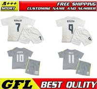 Wholesale 2016 Real Madrid kids Home Away Soccer Jerseys set camiseta Real Madrid Children RONALDO JAMES KROOS BALE football shirts