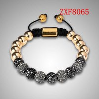 bead chain suppliers - alloy balls with cz diamond Copper beads beaded bracelets mens fashion man and woemen s bracelet shamballa supplier ZXF8065