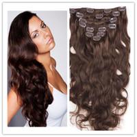 Wholesale 15 quot quot quot quot per set Clip in hair Extension Human Hair Extensions Body Wave Virgin Remy Clip in Hair Extensions