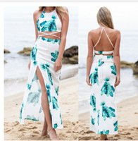 Wholesale 2016 summer style two piece suit dress sexy dress long skirt tropical beach dress Ms Fong