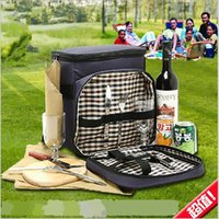 picnic backpack - 2015 AAA quality Outdoor picnic bag shoulders bag multi function tableware barbecue bag travel backpack Insulation Lunch Bag TOPB1918