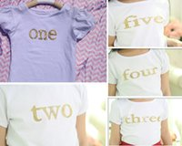 Wholesale posh short sleeve kids tshirt Gold baby tshirt glitter gold shirt Girls Birthday Top Vintage inspiration white tshirt