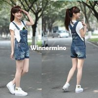 Cheap 1510 2015 Korean summer lady loose ripped denim overalls plus size casual denim shorts pants suspenders Jumpsuits Rompers women jeans
