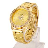 Wholesale 2015 new fashion gold watch cartoon bear series with Diamond Dial lady metallic gold quartz watch Watch