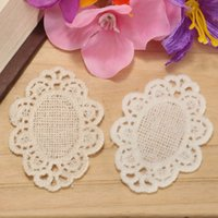 Wholesale Cotton Ellipse Lace Patch For Clothes Iron On Patches Sewing Embroidery Appliques Badge Trim DIY Accessory