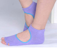 Wholesale 12 pairs Mixed Colors Non slip Women Five Finger Yoga Toe Ankle Grip Bare Instep Durable Soft Yoga Sock In Stock