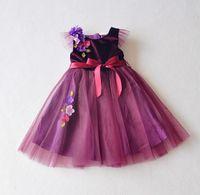 al por mayor niñas pequeñas prendas de vestir de color púrpura-2016 mangas Marca de primavera y verano Inglaterra 3DFlower de tul de gasa muchachas de los niños vestidos de niña de vestido ropa del niño púrpura K6814