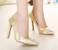 stiletto - Pump Shoes Women Stiletto Heel Pointed Toes High Flatform Gold Silver Color B10