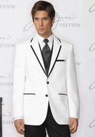 Cheap White Men Suits Slim Fit Men Tuxedos Black Notched Lapel Egde Wedding Suits For Men One Button Groomsmen Grooms Suits