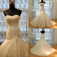 Wholesale 2015 Sexy Wonderful A Line Sweetheart White or Ivory Lace Floor Length Lace up Sleeveless Beads Appliques Sweep Train Tulle Wedding Gowns