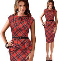 bodycon dresses - Hot Sale Red Plaid OL Work Celebration Dresses Top V Neck Sexy Empire Dresses Casual Pencil Dresses