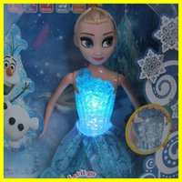 Wholesale 2015 New Style Elsa Musical Dolls Singing quot Let it go quot Glow Princess Elsa Saying Story Toys With Box For Kids Gifts