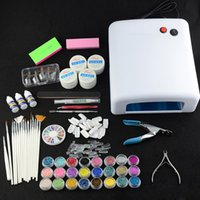 arts pearl powder - Nail Art UV Gel Kits W UV Lamp Dryer French Nail Tips Glitter Powder Pearl Set For Nail Tool Kit Acrylic D Rhombus Powder Set