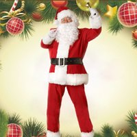 Wholesale Christmas Cosplay Santa Claus Costumes Christmas Clothes Red Suit for Men With tops pant Belt Beard Hat H9113