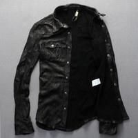 Wholesale Fall New Men Motorcycle Leather Shirt Jacket Black Plus Size XXXL Genuine Sheepskin Men thin Coat Factory Direct