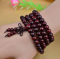 sandalwood beads - 108 mm Genuine Natural Sandalwood Beads Buddha Malas Bracelet Healthy Jewelry Man Wrist Mala Neklace Bowknot Bracelets Colors