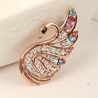 high end clothing - Korean version of the high end clothing accessories scarf buckle diamond brooch inlaid jewelry Cygnet