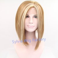Wholesale Natural look ombre wig short bob wigs for women synthetic lace front wig heat resistant wigs Synthetic Hair in stock