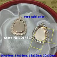 Wholesale Teardrop Shape models stud earrings earrings blank with steel needles for gemstone making in For high jewelry making