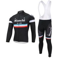 bianchi - 2014 bianchi men cycling Jersey suits in winter autumn with long sleeve bike jacket bib pants in cycling clothing bicycle wear