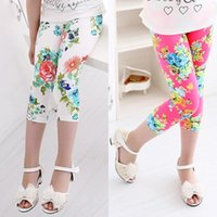 summer clothes for girls - 2015new summer girls calf length pants clothing fashion floral print blossoming peony kids girls Leggings for cm