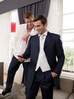 Wholesale and retail Long style Peak Lapel Four Buttons Black High quality Groom Tuxedos Suit Wedding Men s suits Jacket Pants Vest
