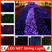Wholesale 1 m LED Web Mesh String lights V Led flash modes Christmas Xmas Wedding Party Fairy Luminarias Net light