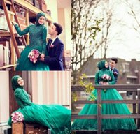 Cheap Green Muslim Lace Wedding Dresses High Collar Long Sleeves Beaded Zipper Corset Princess Style Bridal Gowns Vintage Style Customize 2015 New
