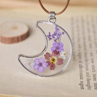 alloy epoxy - Handmade Glass Crescent Moon Pendant Romantic Purple Lavender Small Dried Flowers Epoxy Wax Cord Chains nxl029