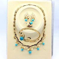 al por mayor pendientes de turquesa juego de anillos-El oro de la declaración del babero de la burbuja plateó los anillos de los pendientes de las pulseras del collar suena la joyería de la turquesa para el envío libre de las mujeres