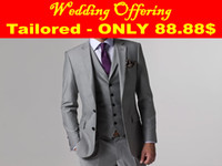 Reference Images wedding suits for men - Wedding Offer Custom Made To Measure Grey Groom Tuxedo Bespoke Gray Wedding Suits For Men Tailored Tuxedos For Men Jacket Pants Vest