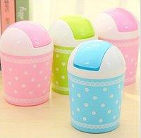 Wholesale Lace Polka Dot Pattern Desktop Storage Bucket Creative Fashion Mini Trash Can with Lid XH05112
