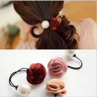 Wholesale 12 pieces Mix colors flower and Simulated pearl elastic Headband Hair rubber for Women hair Accessories Hair Ornaments FD183