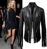 women black short leather jacket - 2015 Sexy Women PU Leather Biker Motorcycle Tassels Black Punk Jacket Coat Size