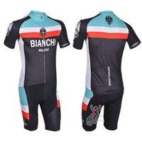 Wholesale bianchi bike clothing team cycling jersey cycling wear short sleeve biking shirt and bib pants