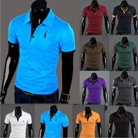 men's polo shirts - Men s T Shirts Men s Slim Fit Stylish Short Sleeve Slim Fit T Shirts Deer Embroidery Cotton Casual T shirts
