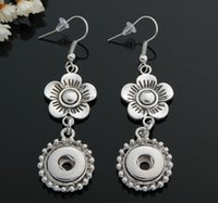 big button earrings - big flower earring silver plated mm Noosa Button Earrings accessories trade explosion DIY noosa earrings with stud snap button earring