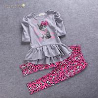 Wholesale Cat Shirt Dress Best Suits Child Clothes Kids Clothing Summer Leopard Print Leggings Girl Dress Children Set Kids Suit Outfits E284