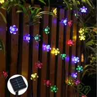 solar power flower - New arrivals LEDS Peach Flower solar powered Led lamps Super Bright Solar High Power Led Christmas Lighting Lamps Solar Led String Lights