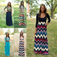 asymmetrical dress pattern - 2016 Vestidos Hot summer fashion trend color printing wave pattern long dress ladies casual dresses