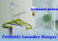 Wholesale Wall Mounted Space Aluminum Bathroom Accessories Folding Wall Clothes Hanger Foldable Laundry Hanger