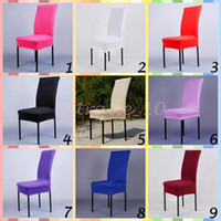 Cheap 10pcs CCA3327 Solid Color Office Chair Cover Wedding Decoration Polyester Spandex Dining Chair Cover Wedding Party Washable Chair Cover