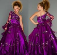 Cheap Long Sleeves Glitz Todder Teen Girl Kids For Girls 2015 Cheap Purple Grape Little Girl's Baby Dress Party Flower Pageant Dresses Ball Gowns